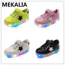 Обувь для детей, светящиеся кроссовки из искусственной кожи на плоской подошве, дышащая обувь со светодиодной светодио дный, обувь для мальчиков, европейские размеры 21-29, 4 цвета, быстрая доставка