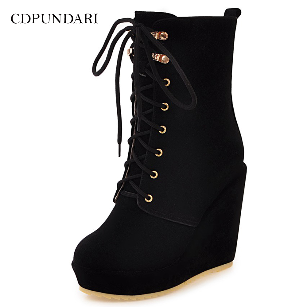 CDPUNDARI Lace up Suede Wedges Ankle boots for women high heels platforms boots Ladies Winter shoes woman-in Ankle Boots from Shoes on AliExpress - 11.11_Double 11_Singles' Day 1