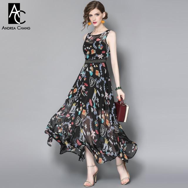Frühling sommer runway designer womans kleider schwarz bodenlangen ...