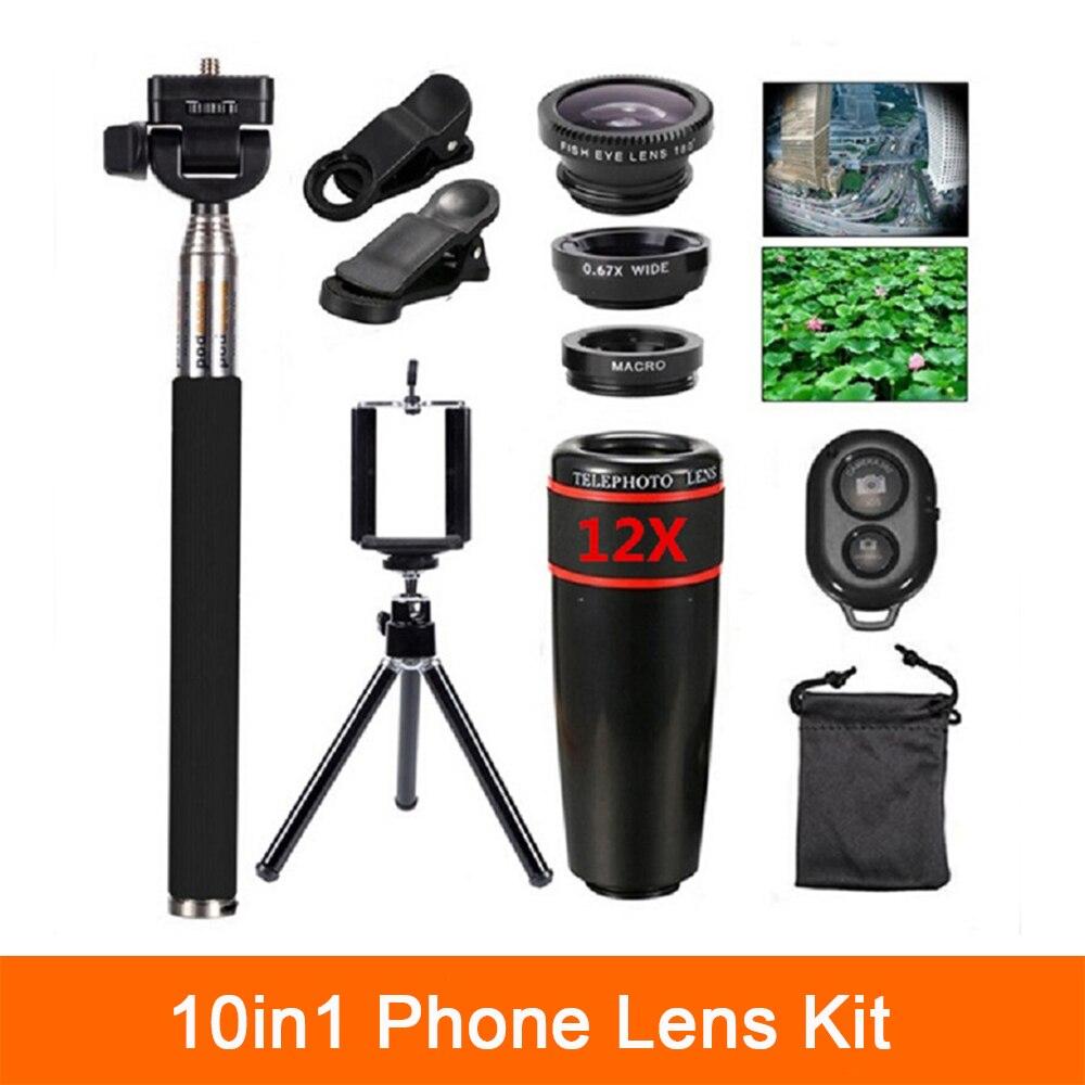 bilder für 10in1 kit Linsen 12x Tele Fisheye-objektiv Weitwinkel Makro Lentes Selfie Stick Fern Stativ Für Smartphone iPhone 6 6 s 7