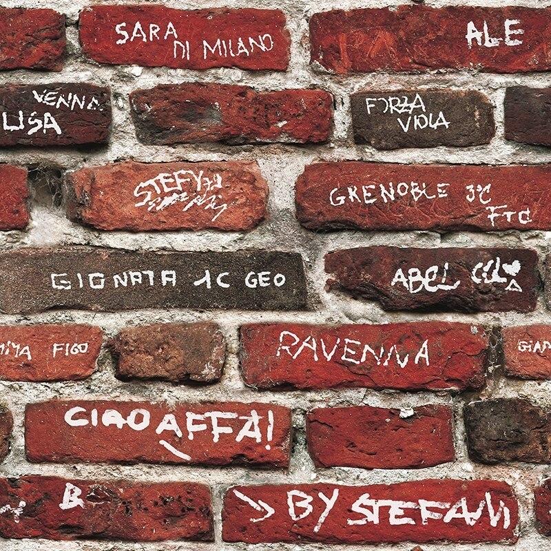Graffiti papier peint anglais alphabet fond mur style industriel chambre rétro nostalgie Loft brique motif PVC papier peint