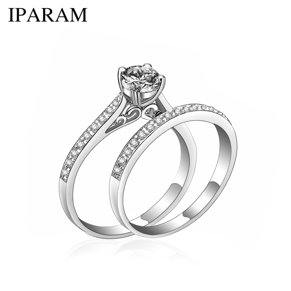 IPARAM Charm Silver Ring Women's Jewelry Crystal Wedding Jewelry Engagement Head Panel Couple Ring Lover Size 6 7 8 9