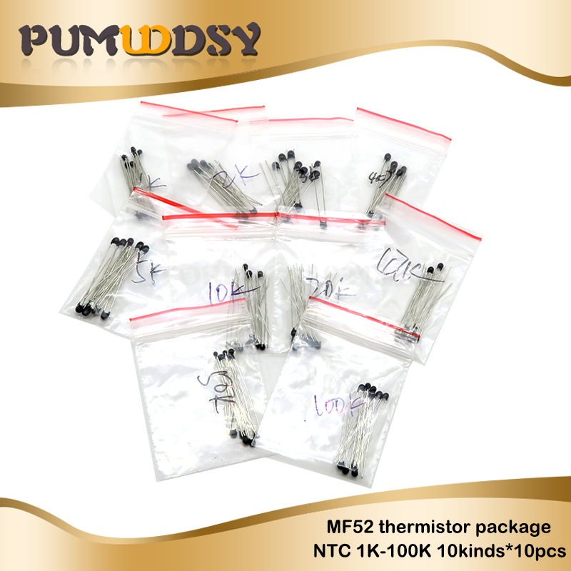 Free Shipping 100pcs=10value*10pcs <font><b>NTC</b></font> <font><b>Thermistor</b></font> Resistor Kit <font><b>NTC</b></font>-MF52AT 1K 2K 3K 4.7K 5K <font><b>10K</b></font> 20K 47K 50K 100K +-5% 3950B image