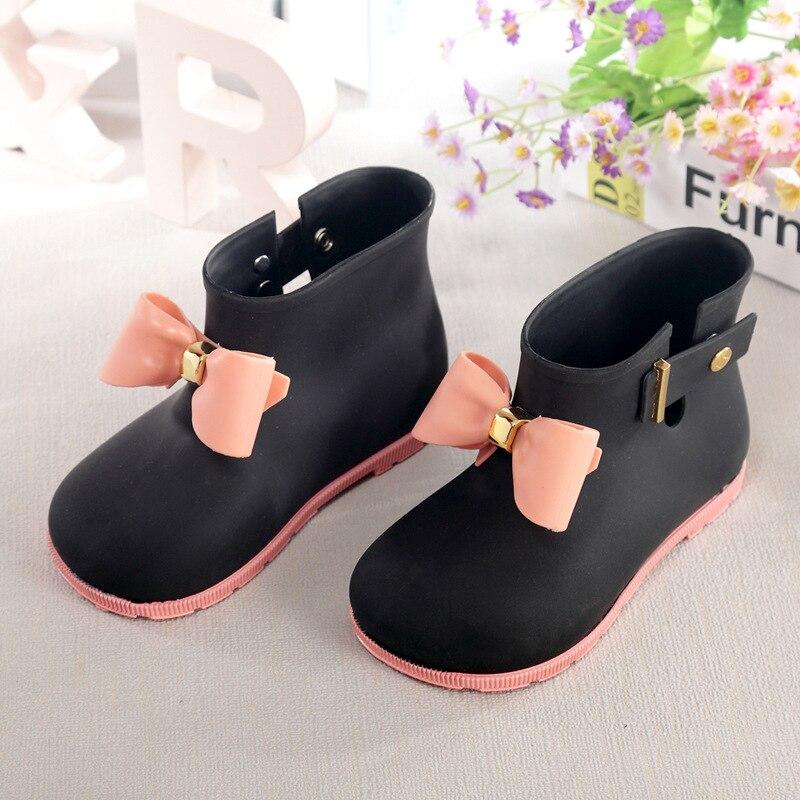 hot 2017 autumn Mini Melissa Bow Girls Rain Boots Princess Boots Children Mini Rain Boots kids