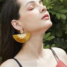 Women Leather earrings Europe Bohemian Drop Dangle tassel Sector 2019 female leopard print PU exaggerated jewelry
