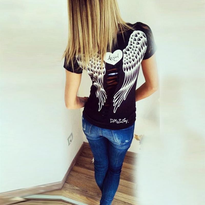 Роман стильный 2018 Лето Тонкий Стиль Для женщин короткий рукав рубашка с круглым вырезом с открытой спиной Крылья Ангела Кружево футболка