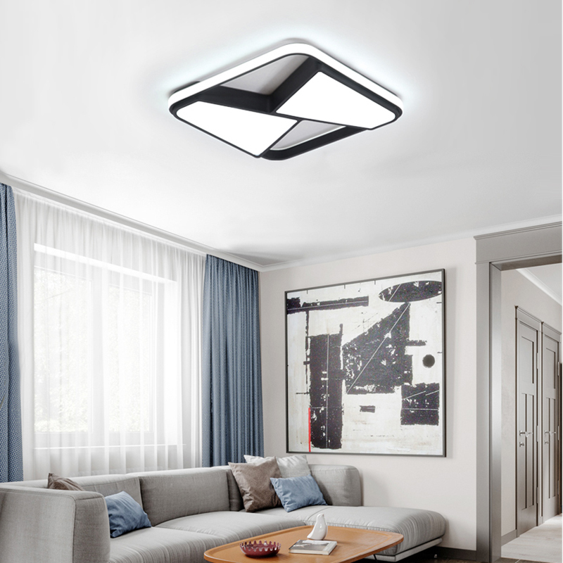 Rectangle modern led ceiling lights for living room bedroom study room white or black 95 265V Rectangle modern led ceiling lights for living room bedroom study room white or black 95-265V square ceiling lamp with RC