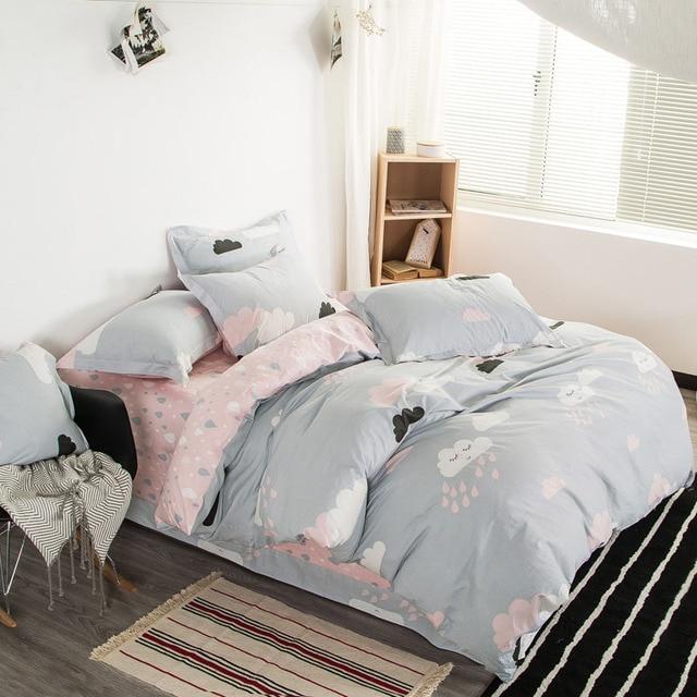 ephensun cotton bed linen cartoon geometric plants flowers printing bedding set queen size king size bed