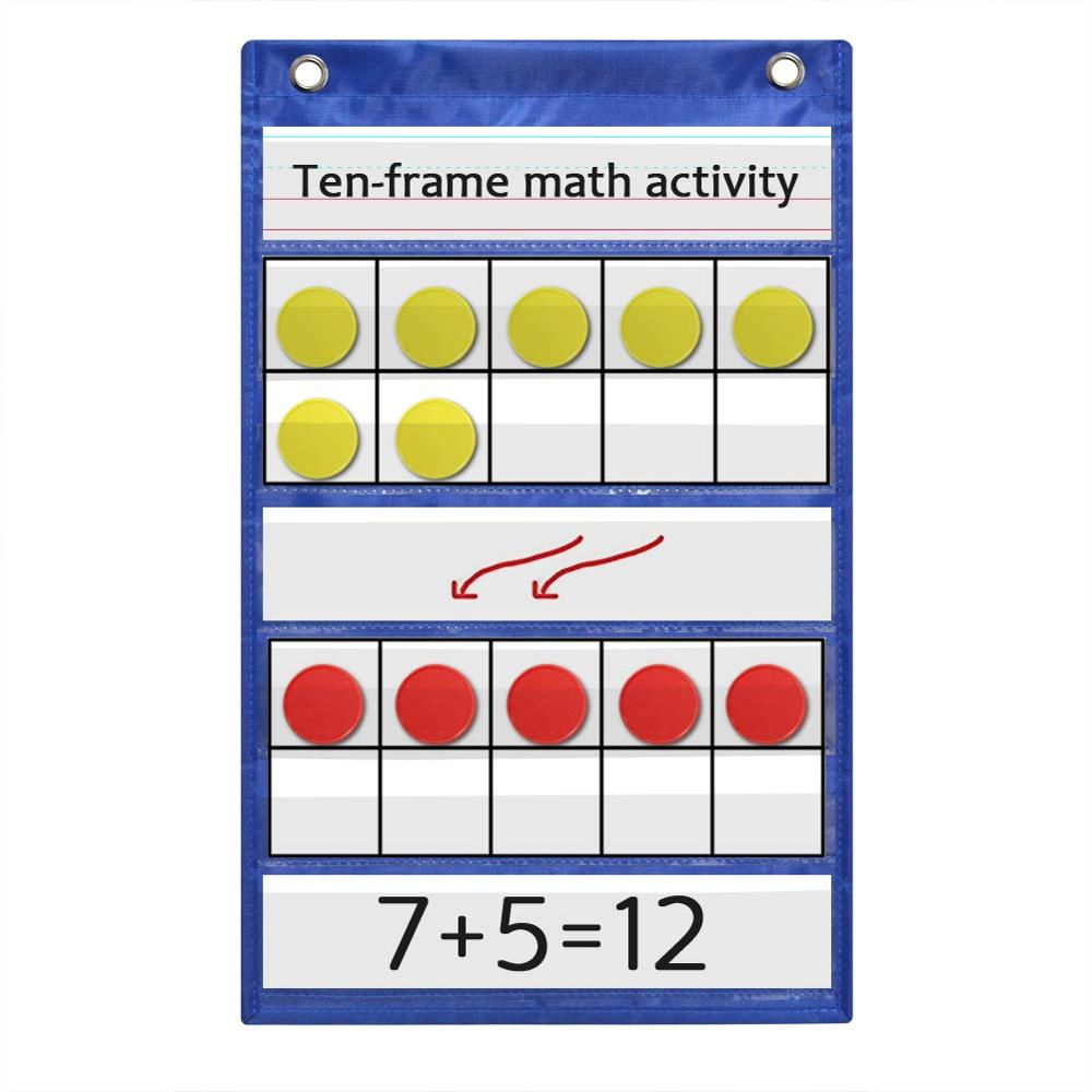 Godery Ten-Frame Set Pocket Chart For Classroom And Homeschooling, Math Manipulative 10 Frame Activity Chart For Kids Counting