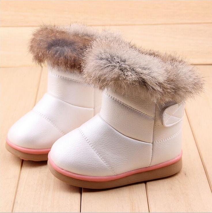 New-Winter-fashion-snow-boot-Warm-Rabbit-hair-PU-Leather-First-Walkers-shoes-wings-infant-Toddler-Baby-Girls-hard-sole-13-18CM-1