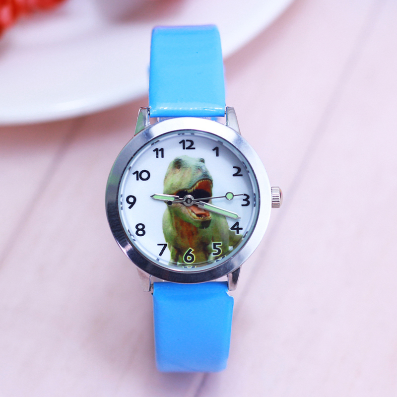 2018 Famous Children Boys Girls Cool Cartoon Anime Dinosaur Quartz Watches Kids Sports Luminous Hands Leather Clock Kol Saati To Clear Out Annoyance And Quench Thirst Children's Watches