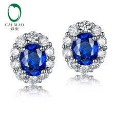 86933d464dc1 Caimao 0.89ct zafiro azul con 0.38ct Halo H SI diamante 14 K oro blanco  pendientes para las mujeres