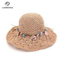 dbd287be5e0 LANSHITINA Summer Hand Crochet Straw Hat Women s Sun Hat Folding Sun Visor Beach  Hat