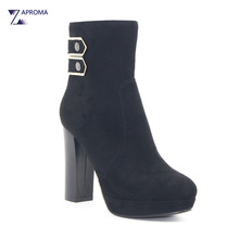 Round Toe Sexy Faux Suede Platform Women Ankle Boots 2018 Chunky Heel Buckles Black Super High Heel Shoes Fleeces Autumn Winter