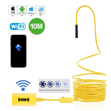 Endoscopio con WiFi y boroscopio inalámbrico, impermeable, cámara HD de 2,0 megapíxeles, 2M, 5M, 7M, 10M, cable rígido de serpiente amarilla, 8mm, 6 LED ajustables