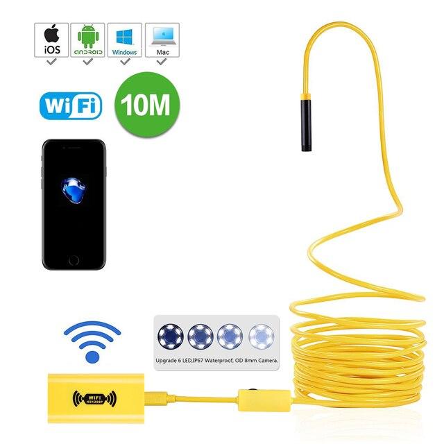 WiFi אלחוטי אנדוסקופ Borescope עמיד למים 2.0 מגה פיקסל HD מצלמה 2M 5M 7M 10M צהוב נחש נוקשה חוט 8mm 6 מתכוונן LED