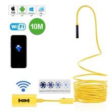 Wifi endoscópio sem fio borescope impermeável 2.0 megapixels hd câmera 2 m 5 m 7 m 10 m amarelo cobra rígida fio 8mm 6 ajustável led