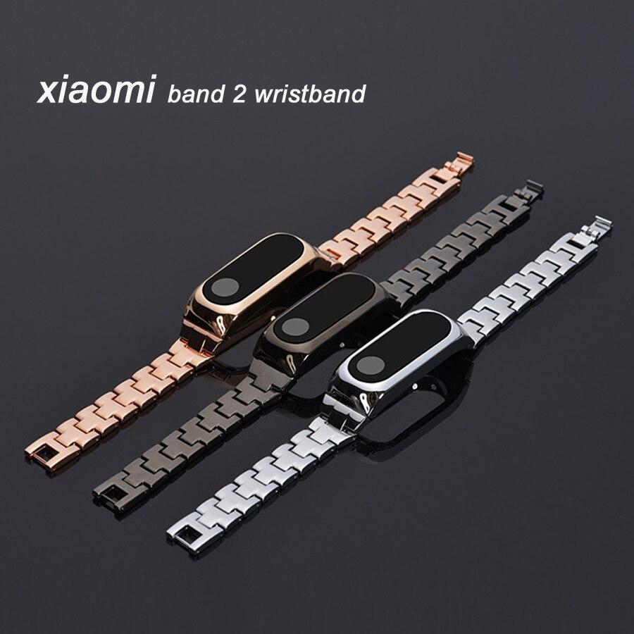 Μεταλλικό λουράκι καρπού αντικατάστασης για Xiaomi Mi Band 2 Miband 2 ανοξείδωτο χάλυβα Wristband για Mi Band 2 μαύρο ασημένιο χρυσό
