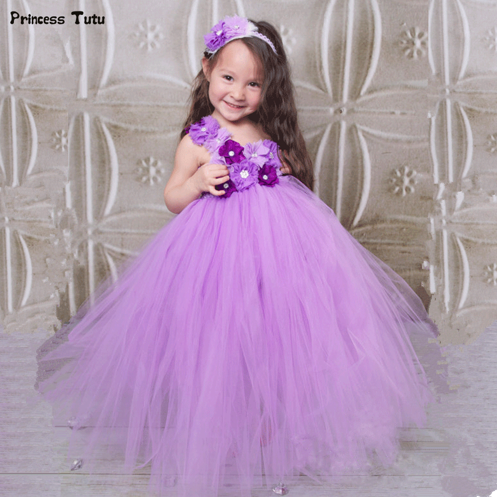 Lavender Flower Girl Tutu Dress Tulle Princess Children Kids Party Tutu Dresses For Girls Pageant Wedding Ball Gown Dress 1-14Y 2018 new summer girl children s ball gown princess dress costumes feathers wedding dresses girls kids lace tutu dresses d048