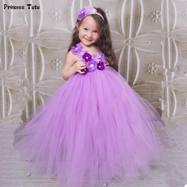 c974a627fd5 Lavender Flower Girl Tutu Dress Tulle Princess Children Kids Party Tutu  Dresses For Girls Pageant Wedding Ball Gown Dress 1-14Y