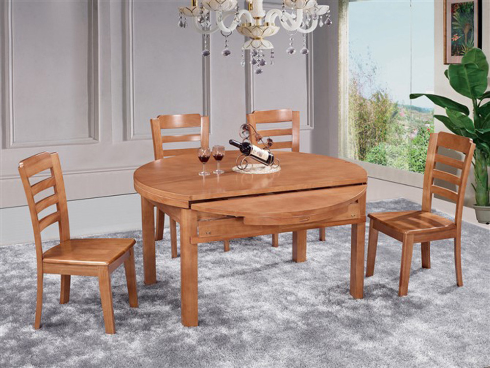 rustic wood color retractable circular dinette cherry oak on Circular Folding Dining Table id=11211