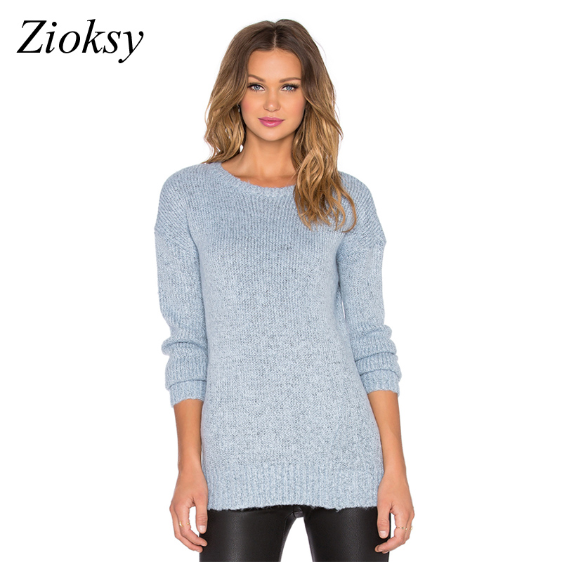 Zioksy 2017 Autumn Winter Fashion Women Sweater Light Blue Comfort ...