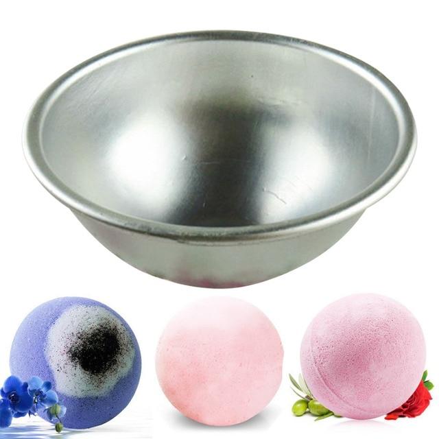 3D Sphere Shape DIY Spa Tool Accessories 1PC 5.5*2.5cm Mini Aluminum Alloy Shallow Semicircle Bath Bomb Salt Ball Metal Mold 4