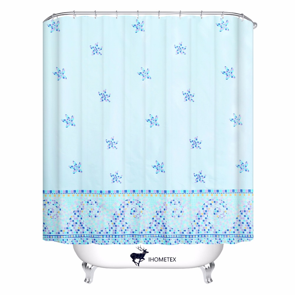 Starfish Seaside Theme Shower Curtain High Quality Modern Bathroom Home Decorative Bath Christmas Gift 72X72inch In Curtains From