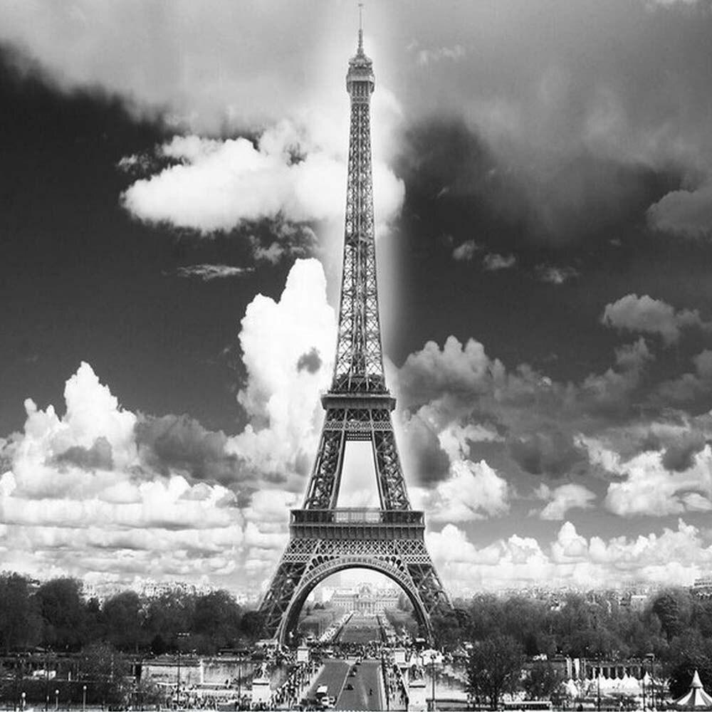 France Paris Eiffel Tower Photo Mural HD Wall Paper Art Decor 3d Wallpaper Papier Peint Pour Les Murs 3 D Black White In Wallpapers From Home