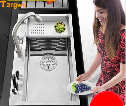 Tangwu kitchen 304 Manual sink  single trough stainless single trough big wash dishes under the table Kitchen Sinks