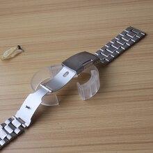 Мужские и женские однотонные часы из нержавеющей стали браслет ремешок для часов 18 мм 20 мм 22 мм 24 мм с гладкой головкой Серебряная Складная Пряжка модный хит