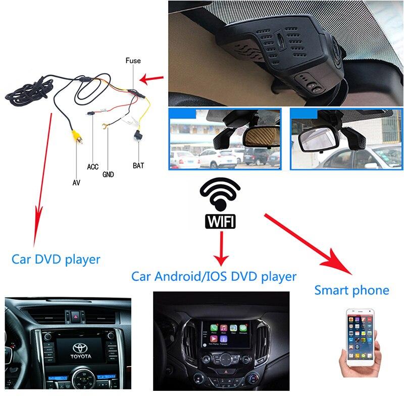 פורד Ainina WiFi מוסתרת רכב DVR מקליט מצלמת עבור BMW / טויוטה / הונדה / בנץ / פורד וכו, 24 שעות במצב חניה dashcam רכב ראיית לילה (2)