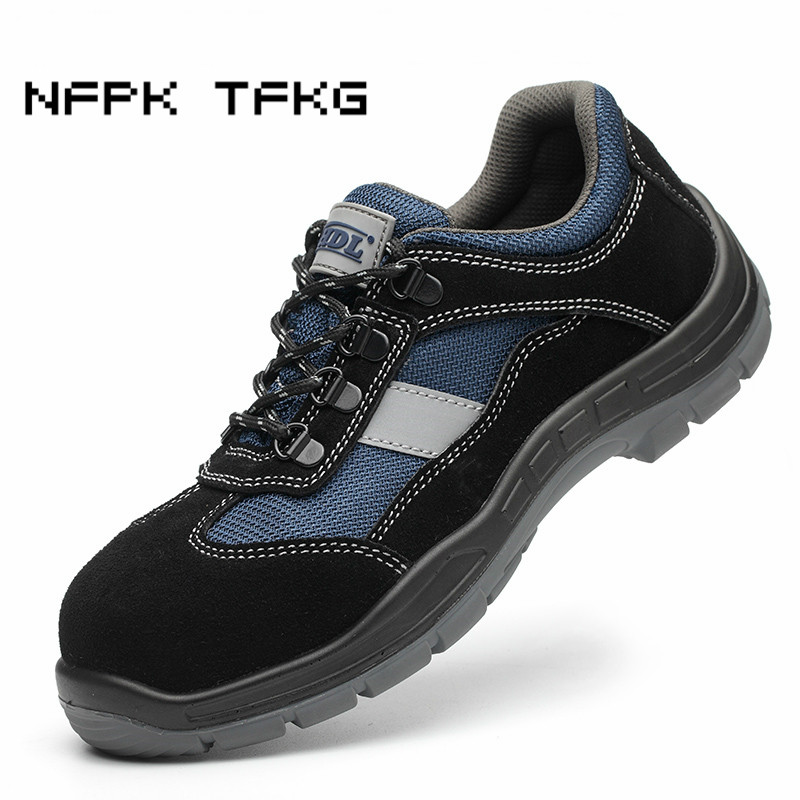 big size men causal breathable steel toe caps work safety shoes comfort light anti pierce tooling