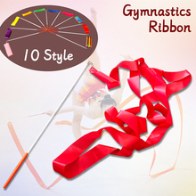 10 pcs/lot 2/4 meters Gym Ribbon Dance Ribbons Rhythmic Art Gymnastic Ballet Streamer Twirling Rod Stick For Training A