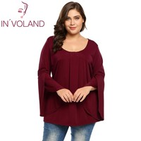 IN VOLAND Oversized Women T Shirts Tops L 3XL Loose Flare Long Sleeve Pullovers Pleated Flowy