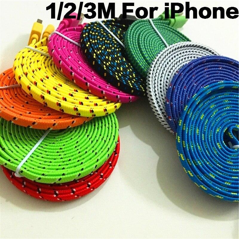 1M 2M <font><b>3M</b></font> Colorful Flat Braided Fabic Woven 8Pin USB Data Sync <font><b>Charger</b></font> Cable Cord Wire for <font><b>iPhone</b></font> 5 5s <font><b>6</b></font> 6s 7 8 Plus