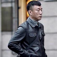 2016 Men's actual leather-based jacket sheepskin Genuine Leather jacket males leather-based coat
