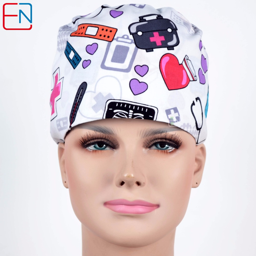 Hennar Scrub Caps Masks For Women And Men Hospital Clinical Medical Hats Print Adjustable Surgical Hat Mask Unisex S-M