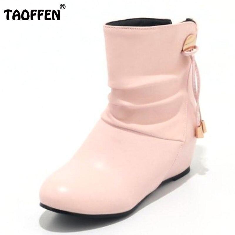 100% QualitäT Taoffen Größe 33-43 Damen Höhe Zunehmende Mitte Wade Stiefel Frauen Metall Dekoration Slip Auf Schuhe Frauen Warme Winter Botas Schuhe Modern Und Elegant In Mode