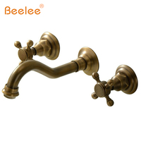 Beelee Wall Mount Double Handles 3 Hole Widespread Bathroom Sink Faucet Antique Brass Finish