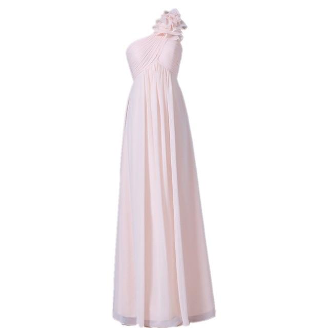 Mdbridal Women One Shoulder Light Pink Bridesmaid Dress Empire Waist