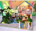REGALO del Día de San Valentín creativa 2 plantas Jardín de ensueño casa Casa De Muñecas De Madera DIY Modelo Miniatura Kit con prueba de polvo, Tamaño grande