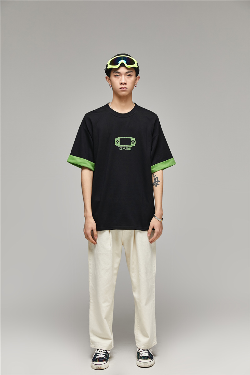 Trend Game Machine Loose Half-sleeve <font><b>T</b></font>-<font><b>shirt</b></font> Men's Casual <font><b>Hongkong</b></font> Style Literary Summer Ins Short-sleeved Japanese Tee image