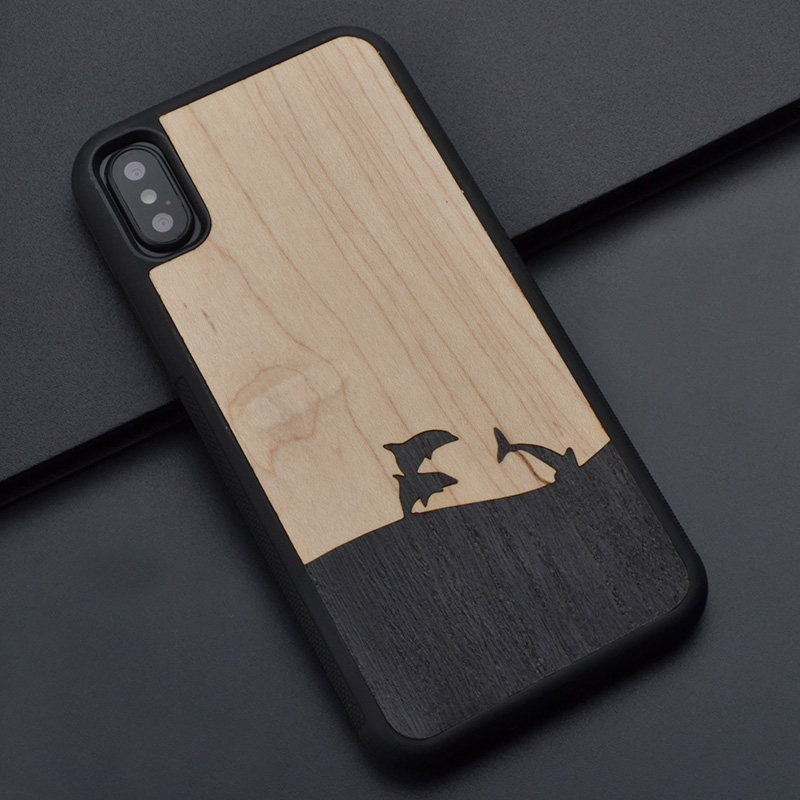 Dolphins love Splicing original pretty real wood phone case for iPhone 6 s 7 8 plus X wooden cover For Huawei P 10 plus