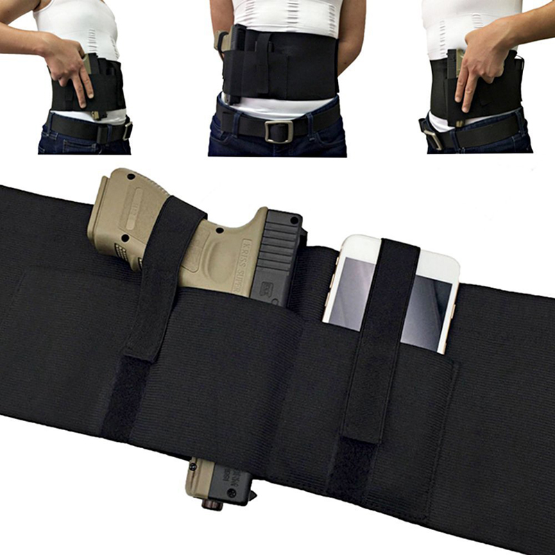 US $7 81 50% OFF|Versatile Belly Band Holster Concealed Carry with Magazine  Pocket/Pouch & 2 Elastic Straps for Women Men Fits Glock, Ruger LCP-in