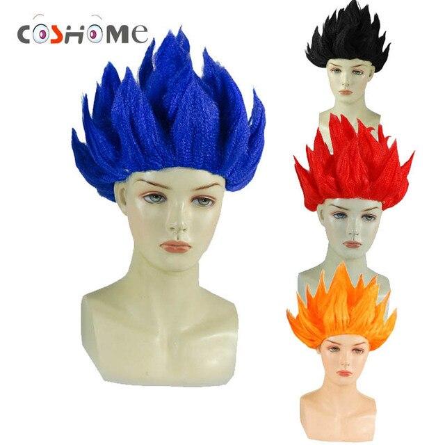 Coshome Goku Cosplay Wigs Dragon Balls Super Saiyan Blue Red Black Yellow  Goku Peluca Anime Men Adult Women Hair 6d5e4a6701