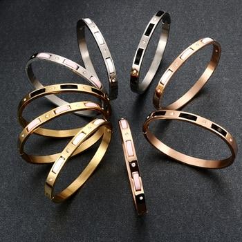 2cf6dcac0624 JOVO 9 estilos clásico 316L pulseras de acero inoxidable brazaletes para  las mujeres Vintage CZ acero brazalete brazaletes de mujer joyería