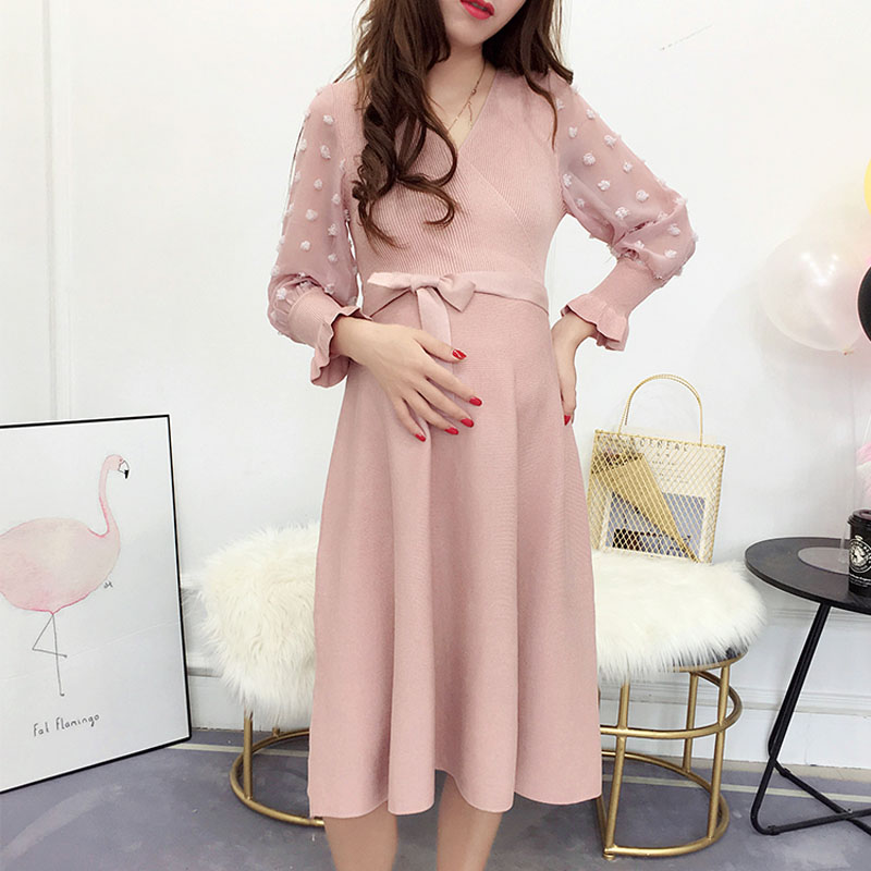 Knitted Maternity Dresses Pregnancy Clothes For Pregnant Women Dress Vestido Embarazada Maternity Dresses Autumn Spring Wear