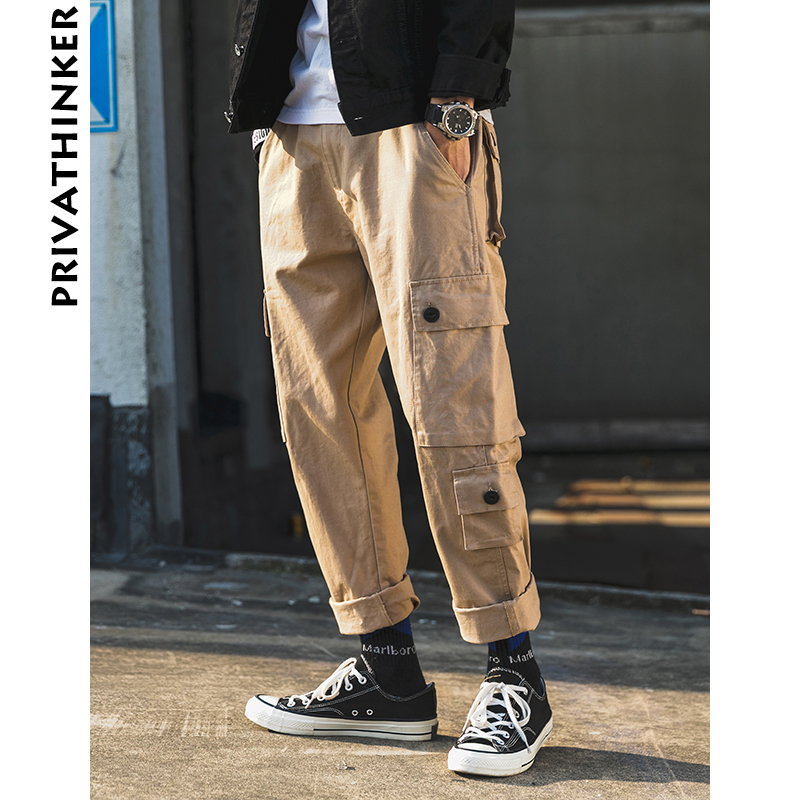 Privathinker Men Vintage Cargo Pants 2019 Mens Japanese Streetwear Straight Pants Male Khaki Streetwear Overalls Joggers Pants