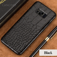 Wangcangli Phone Case For Samsung Galaxy S8 Plus Real Calf Leather Back Cover Case Crocodile Texture